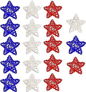 KONUNUS 30Pcs 4th of July Star Shaped Rattan Balls Decoration, 2.36 Inch Star Shaped Wicker Balls for Home Decor DIY Vase Bowl Filler Ornament Wedding Table Decoration (Red, White, Blue)