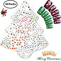 Nicedeco Christmas 50 Sheets 3D Nail Art Stickers Decals for Xmas & New Year Theme Nail Art Decoration