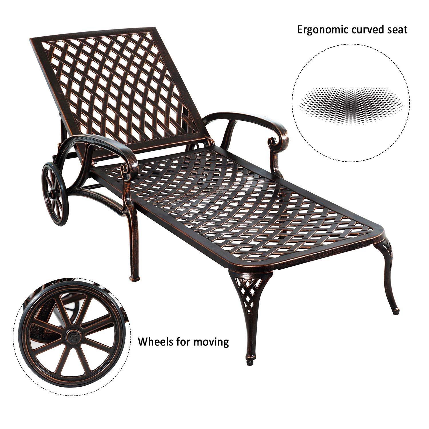 HOMEFUN Chaise Outdoor Aluminum Wheels Lounges Chair Adjustable Reclining Patio Furniture Set, Pack of 2 Antique Bronze , 2PC
