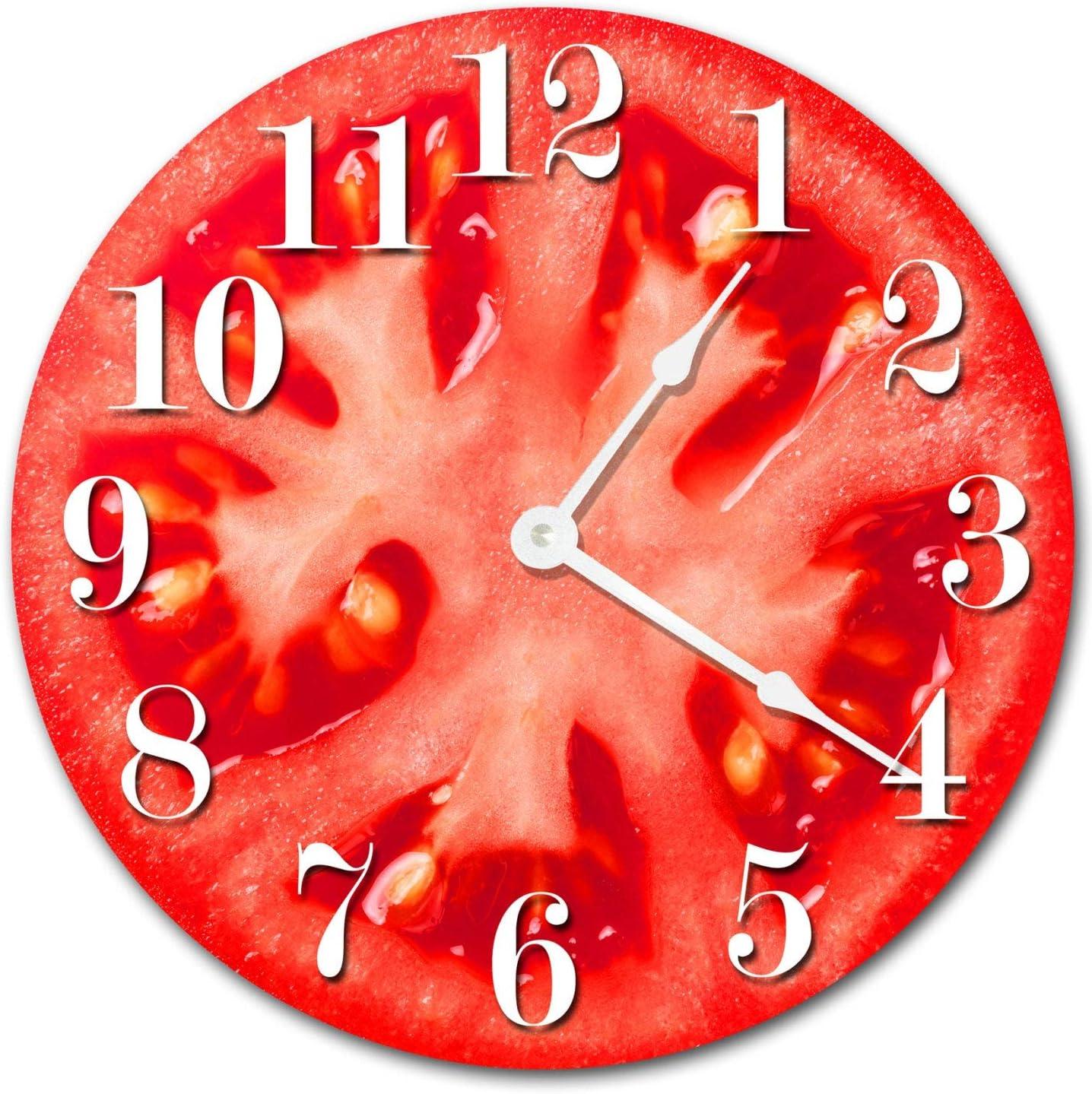 8Jo6Poe Tomato Clock Large 12 inch Clock Novelty Clocks Wall Clocks Round Clock, Food Clock, Kitchen Clock, red Vegetables Clock 2017