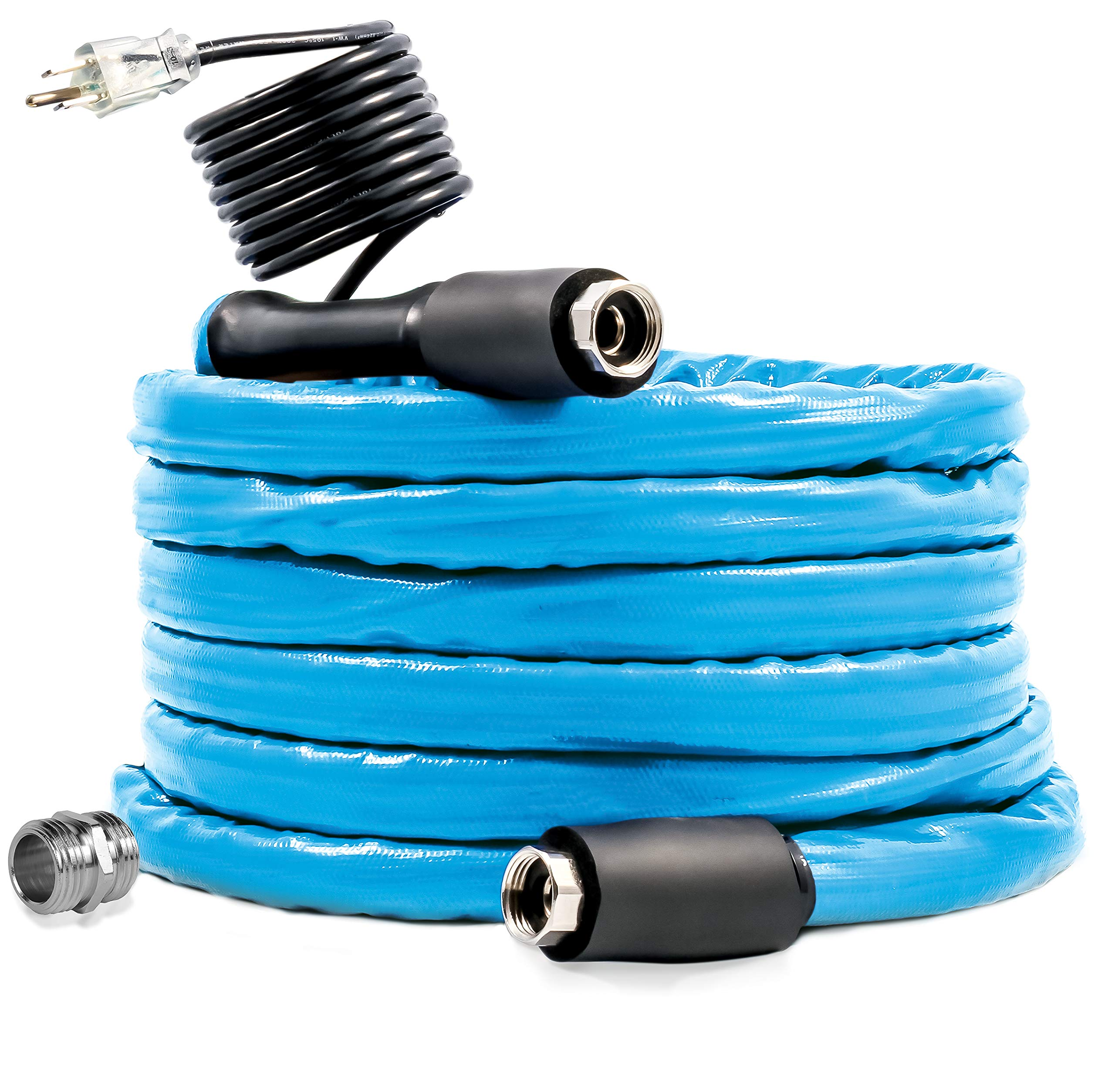 Camco 50ft Cold Weather Heated Drinking Water Hose Can Withstand Temperatures Down to -40°F/C - Lead and BPA Free, Reinforced for Maximum Kink Resistance 5/8'' Inner Diameter (22925) by Camco