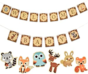 Woodland Baby Shower Decorations Forest Animal Welcome Banner for Girl Boy Animals Creatures Fox Theme with 30 Woodlands Cutouts Decor Owl Deer for Centerpiece Neutral Themed Friends Camping Party Kit