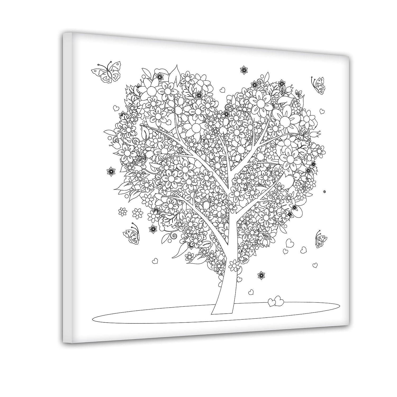 Bilderdepot24 Baum aus Herzen - Ausmalbild auf Leinwand, aufgespannt ...