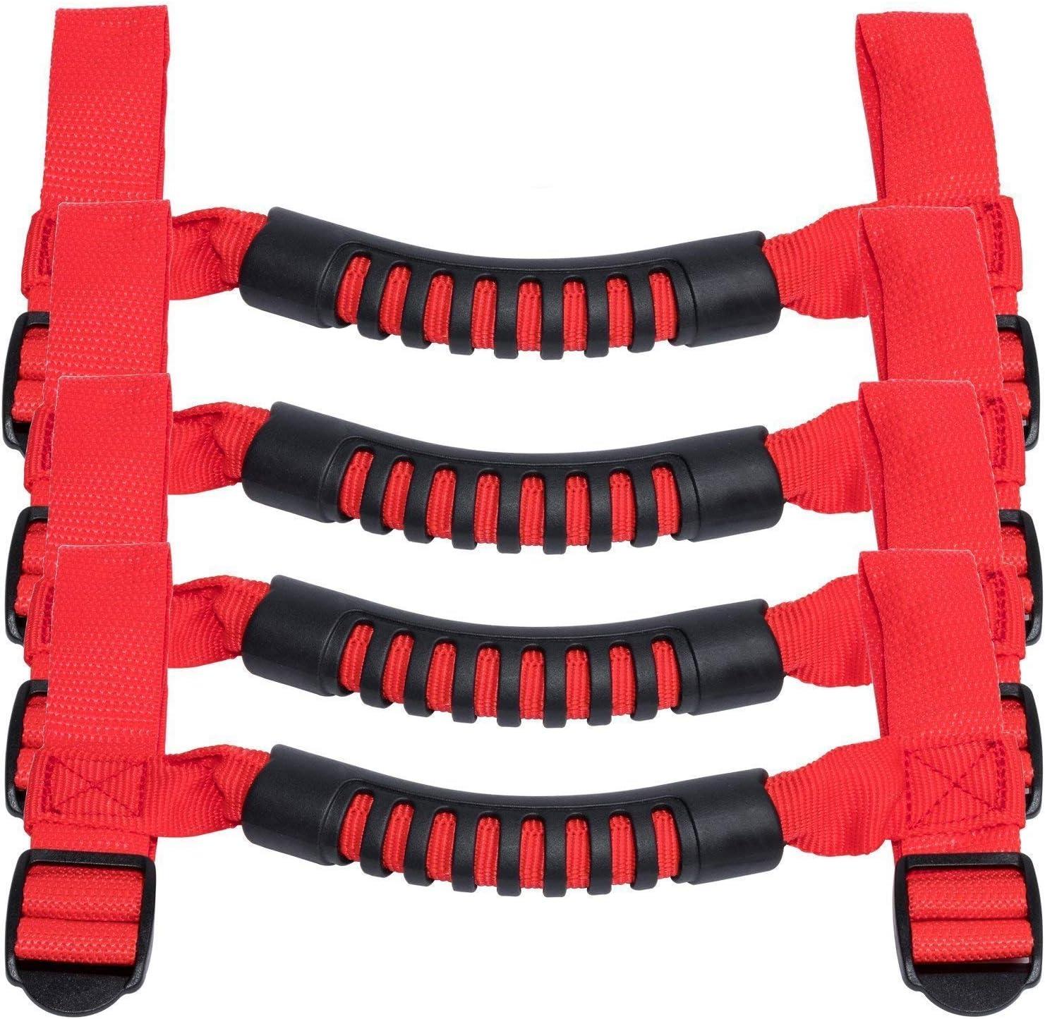 Delleu 4 PCS Roll Bar Grab Handles Grip Handle Strong Durable pour Jeep Wrangler YJ JJ JK JKU JL JLU Sports Sahara Freedom Rubicon X Illimit/é 1995-2018