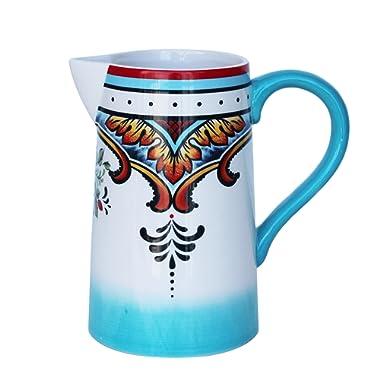 Euro Ceramica Zanzibar Collection Vibrant 9.4  Decorative Ceramic Pitcher, 2.5LT, Spanish Floral Design, Multicolor