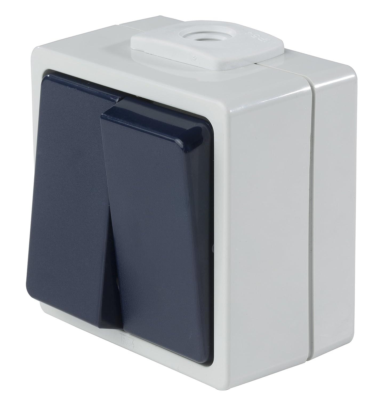 as Schwabe 62451 - Interruptor de pared (con 2 pulsadores, IP 54, para exteriores), color gris as - Schwabe
