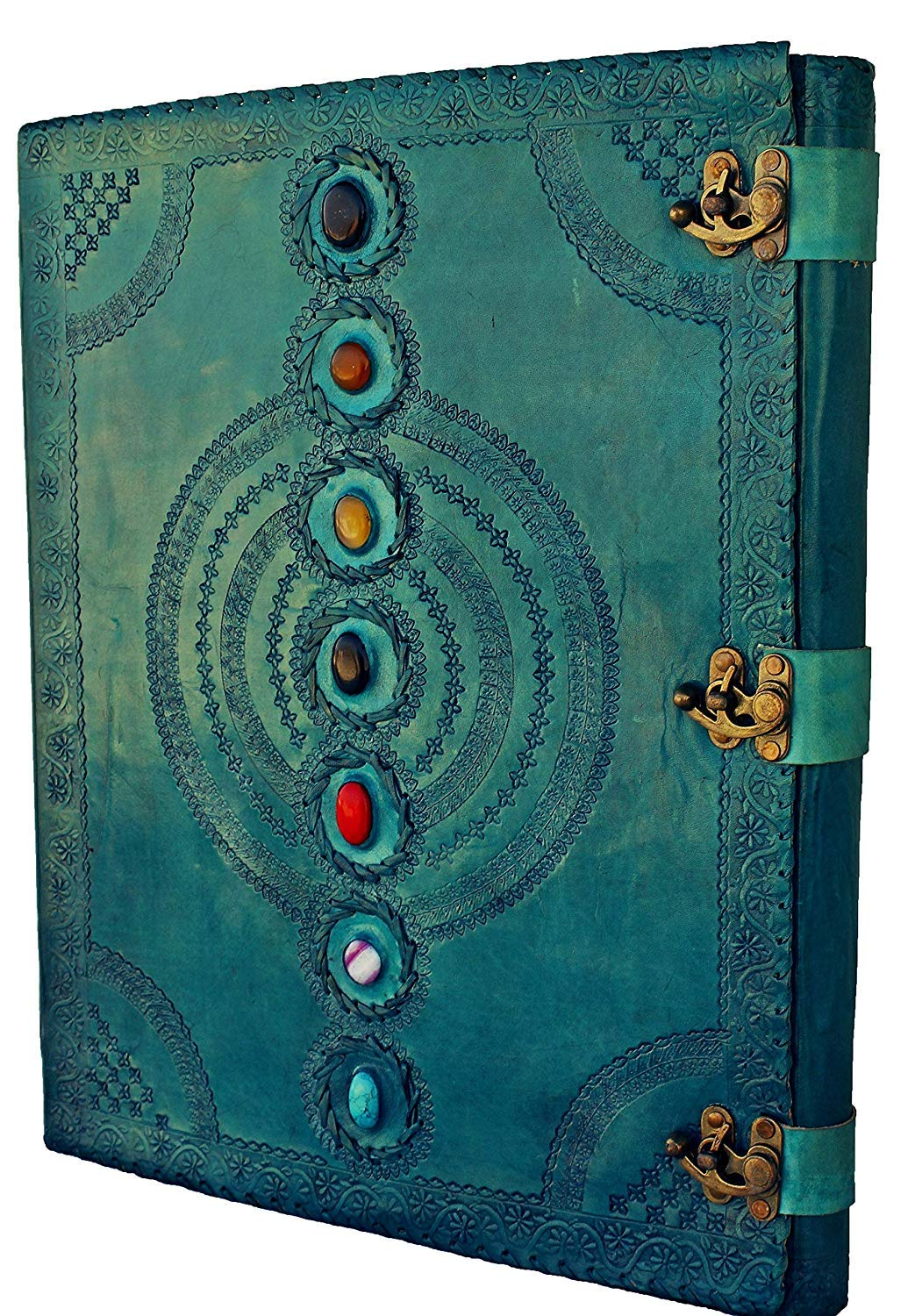 SKYLAND Leather Journal Book Seven Chakra Medieval Stone Embossed Handmade Book of Shadows Notebook Office Diary College Book Poetry Book Sketch Book 13 x 18 Inches