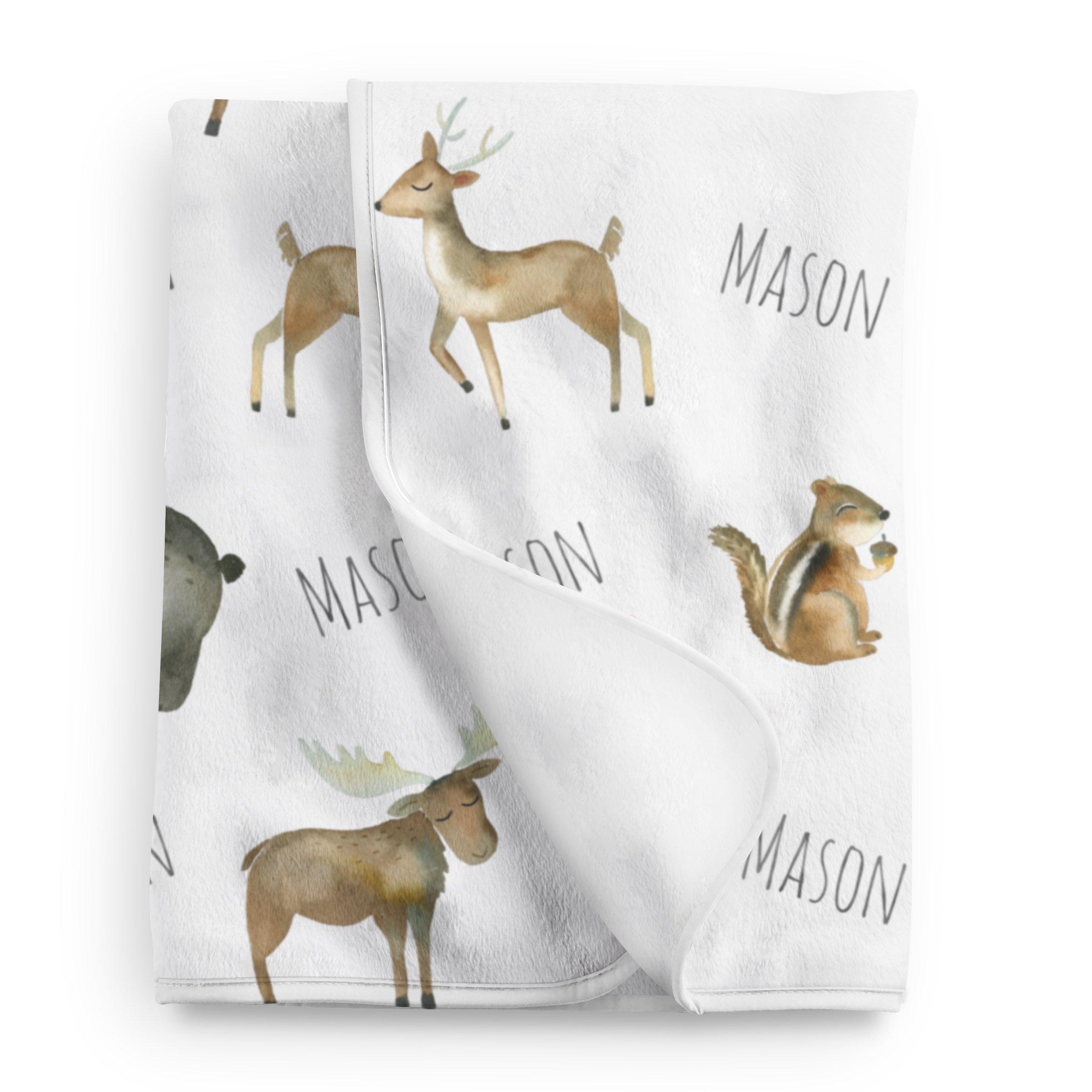 Personalized Woodland Animals Fleece Baby Blanket