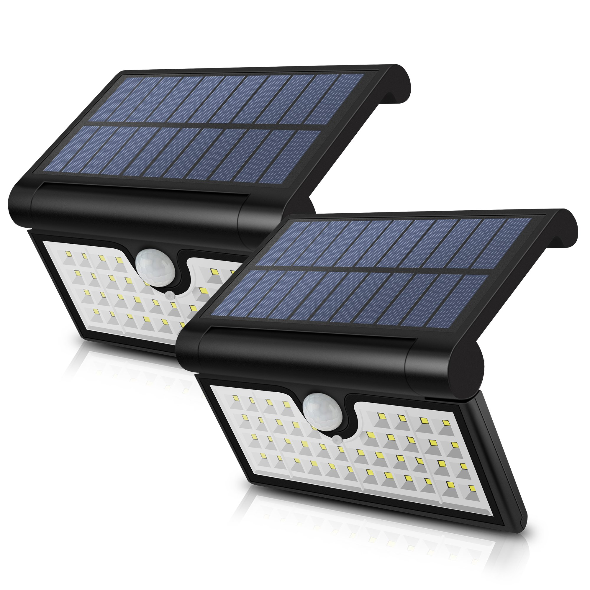 SunPatio Outdoor Solar Light 42 LED, Foldable Wireless Motion Sensor Wall Lights, Portable Camping Waterproof Lights, Home Security Lights for Yard, Garden, Garage, Driveway, Easy to Install, 2 Pack