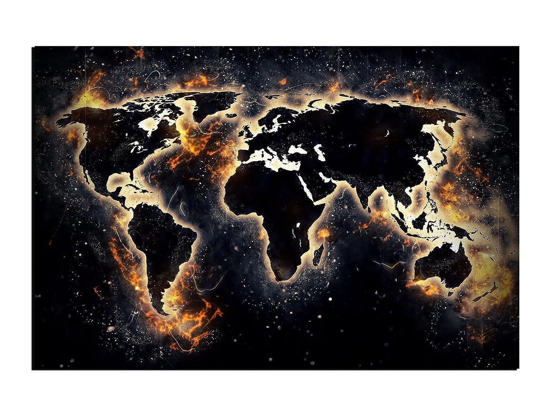 Alu-Dibond Wandbild WORLD ON FIRE WELTKARTE Globus AB-837 Butlerfinish® 120 x 80 cm, Wandbild Edel gebürstete Aluminium-Verbundplatte, Metall effekt Eyecatcher!