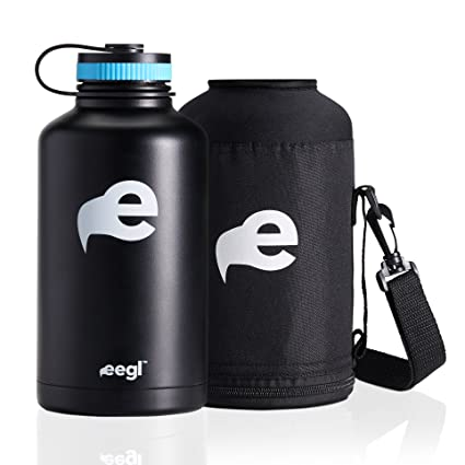 Stainlees Steel Insulated Beer Growler and 64 oz Water Bottle - Includes Carry Case