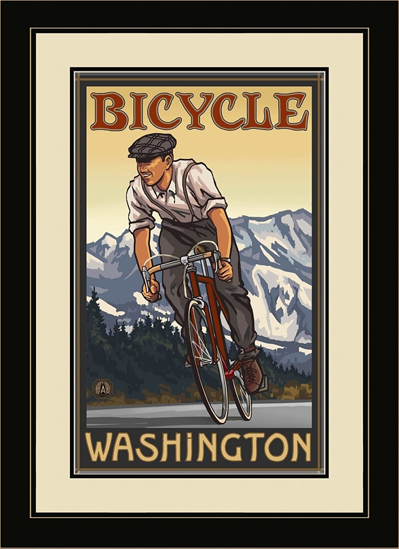Northwest Art Mall PAL-0442 FGDM DBM Bicycle Washington Downhill Biker Mountains Framed Wall Art by Artist Paul A. Lanquist, 16 by 22-Inch
