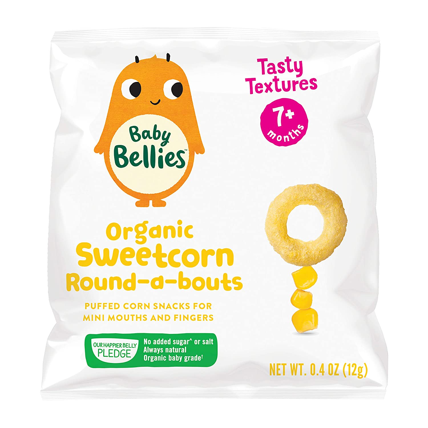 Baby Bellies Organic Sweetcorn Round-a-bouts, 6 pack of individual snack brands