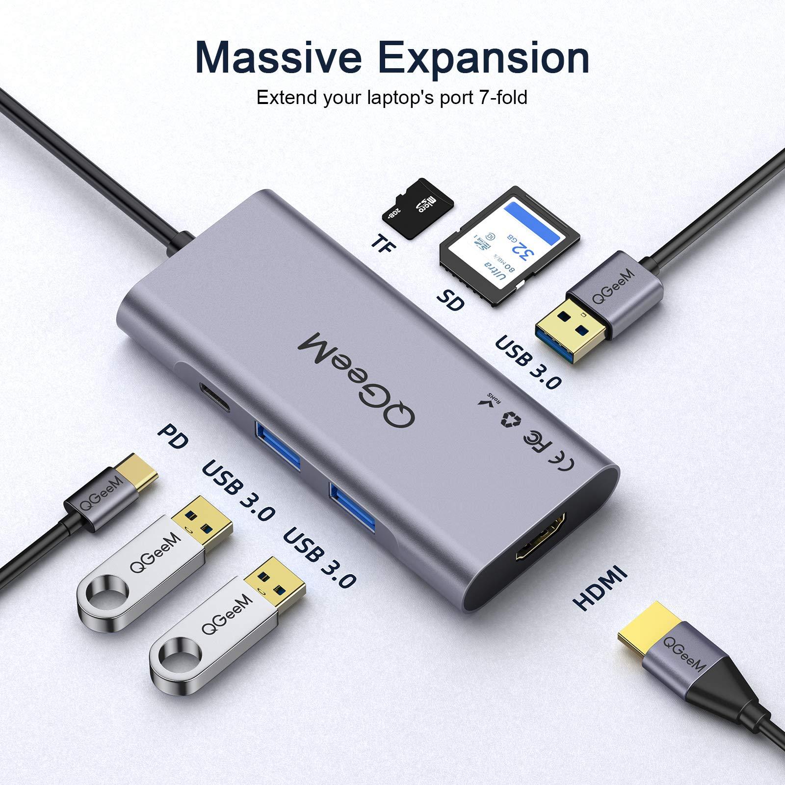 Mua USB C Hub HDMI Adapter,QGeeM 7 in 1 Type C Hub to HDMI ...
