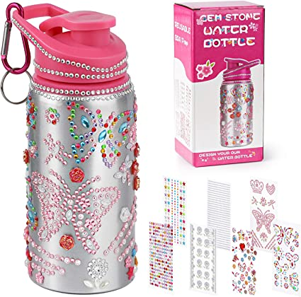 Poscoverge Decorate Your Own Water Bottle for Girls with Glittering  Rhinestone Gem Stickers! BPA Free 12 oz Kids Water Bottle for Girls, Fun  DIY Art