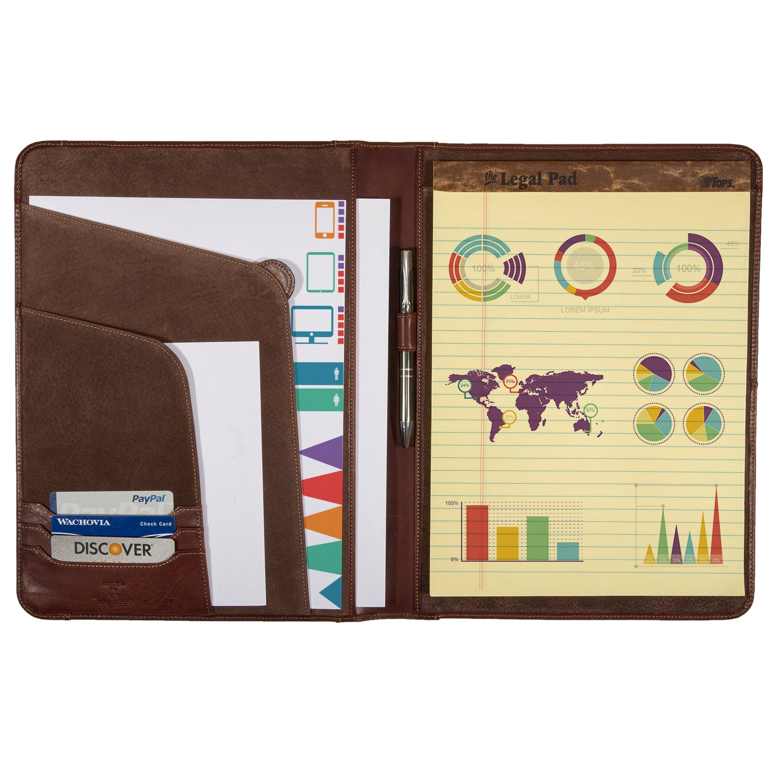 Tony Perotti Unisex Italian Cow Leather 8.5x11'' Notepad Business Writing Padfolio in Brown