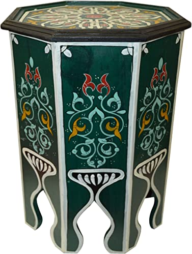 Moroccan Handmade Wood Table Side Moucharabi Delicate Hand Painted Green Exquisite