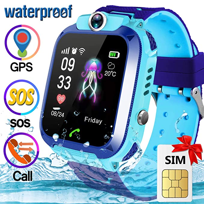 [Speedtalk SIM Included] Kid GPS Smart Watch Phone - IP67 Waterproof Smart Watch Phone for 3-12 Year with SOS Camera GPS Tracker Anti-Lost Game ...