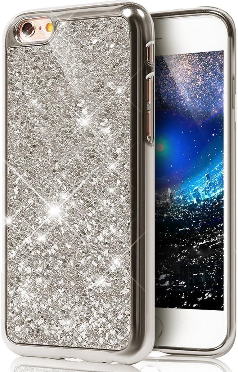 kompatibel mit iPhone 6 H/ülle,iPhone 6S H/ülle,Luxus Gl/änzend Glitzer Strass Diamanten Handyh/ülle TPU Silikon H/ülle Case Tasche Weiche Silikon R/ückseite Glitzer Schutzh/ülle f/ür iPhone 6//6S,Schwarz