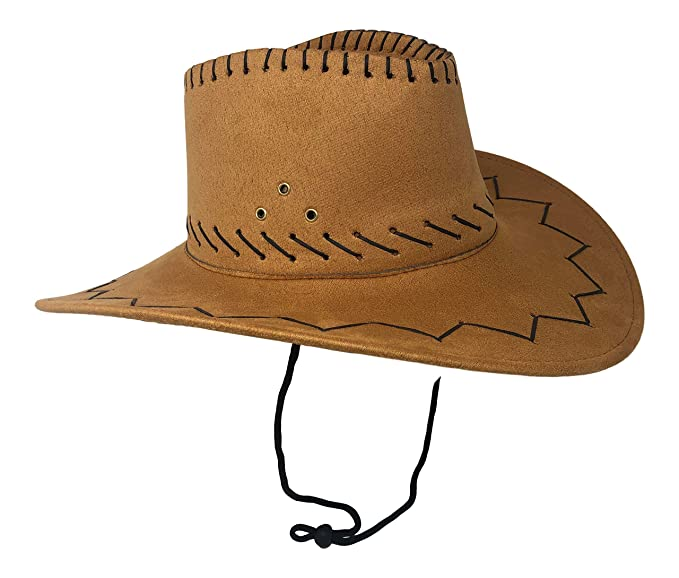 affordable price new collection cheapest price Chapeau Tribe Texas Wild West Suede Light Brown Cowboy Hat with Chin Strap