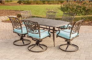 Hanover TRADDN7PCSW6-BLU Traditions 7 Piece Dining Set in Blue with 72 x 38 Cast-top Table Outdoor Furniture, Bronze Frame