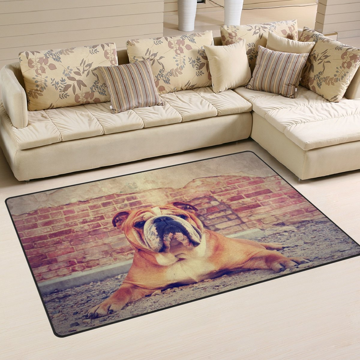 WOZO Bulldog Brick Wall Dog Area Rug Rugs Non-Slip Floor Mat Doormats Living Room Bedroom 60 x 39 inches