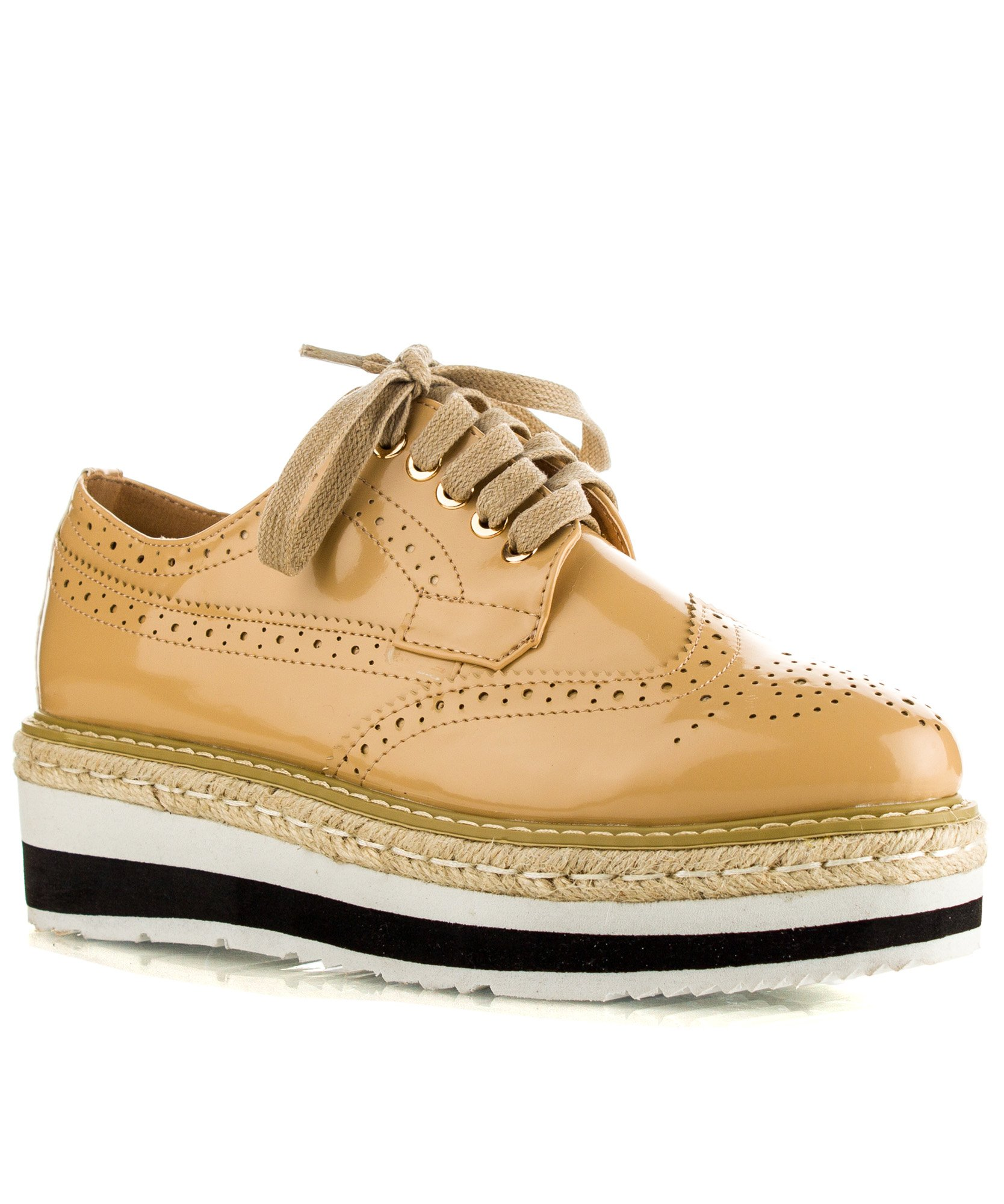 RF ROOM OF FASHION Buzz-01 Wingtip Lugged Sole Flatform Oxford Flats - Lace up Platform Loafers Shoes Camel (9)