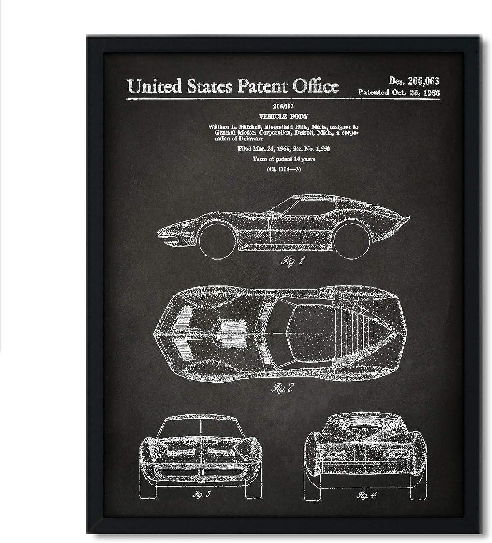Andaz Press Chalkboard Patent Print Wall Art Decor Poster, 8.5x11-inch, Planes, Trains, Automobiles, 1966 Corvette Mako Shark II Patent Poster, 1-Pack, Car Canvas, Classic Car, Corvette Poster