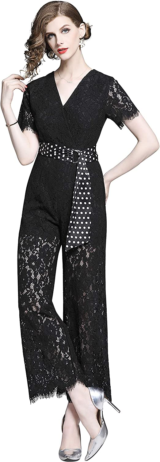 Womens Short Sleeves Lace Jumpsuits Wear to Work Office Pockets Jumpsuits