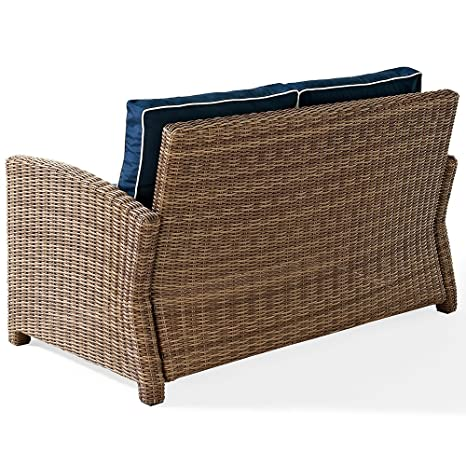 amazoncom crosley furniture bradenton outdoor wicker loveseat with cushions navy patio lawn u0026 garden