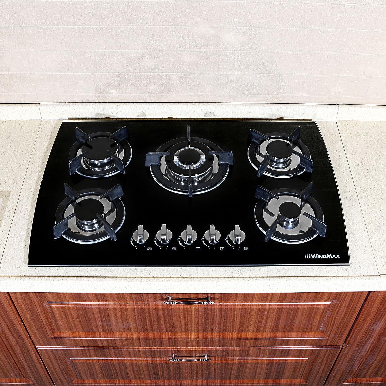 "WindMax(R) 30"" Tempered Glass 3.3KW/h (11259 Btu/h) Built-in Kitchen 5 Burner Oven Gas Cooktops"
