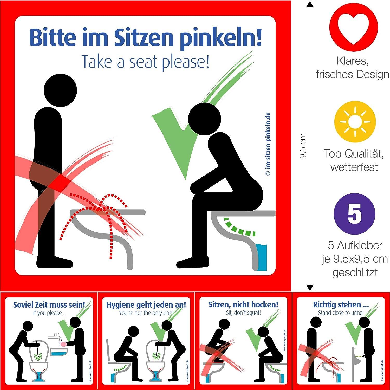 """""""Bitte im Sitzen pinkeln"""" Aufkleber. Folie. Das Original für Ihre saubere  Toilette. 5 verschiedene Motive/Schilder 9,8cm (Klobürste verwenden, Hände  waschen ..."""