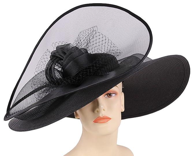 c66a159a985 Ms Divine Women s Wide Brim Kentucky Derby Hat