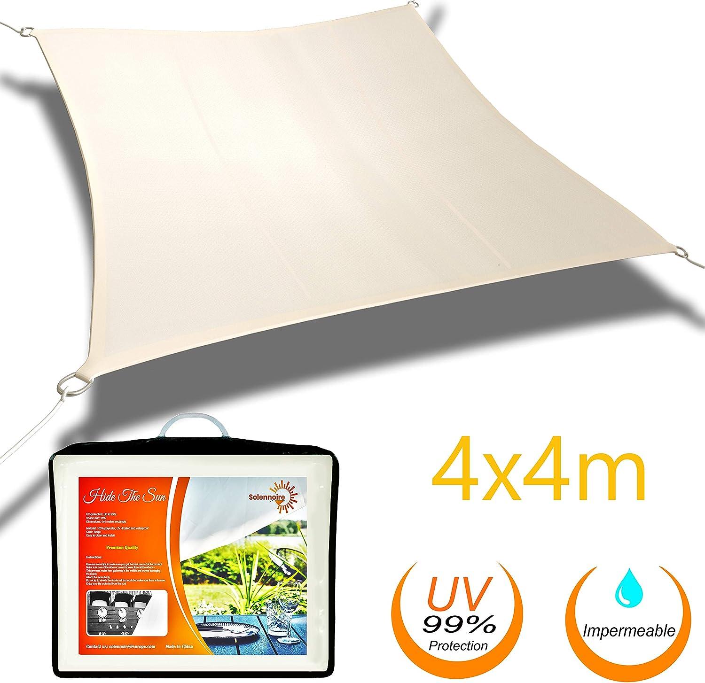 Solennoire, Vela De Sombra   Toldo Suspendido Impermeable   Lona 100% Poliéster   Sombreado 98% - Protección UV 99%   Cuerdas de Fijación & Anillos de Acero Inoxidable   Color Beige (4x4m, Beige)