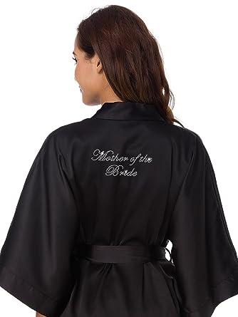 SIORO Women\'s Satin Robe Casual Kimono Robe Bridal Wedding Party ...