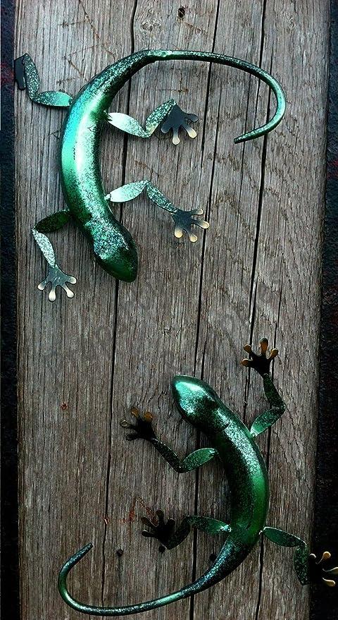 2 x metal decorativo Arte de la pared adorno de jardín para colgar Lagarto, Green Chameleon: Amazon.es: Jardín