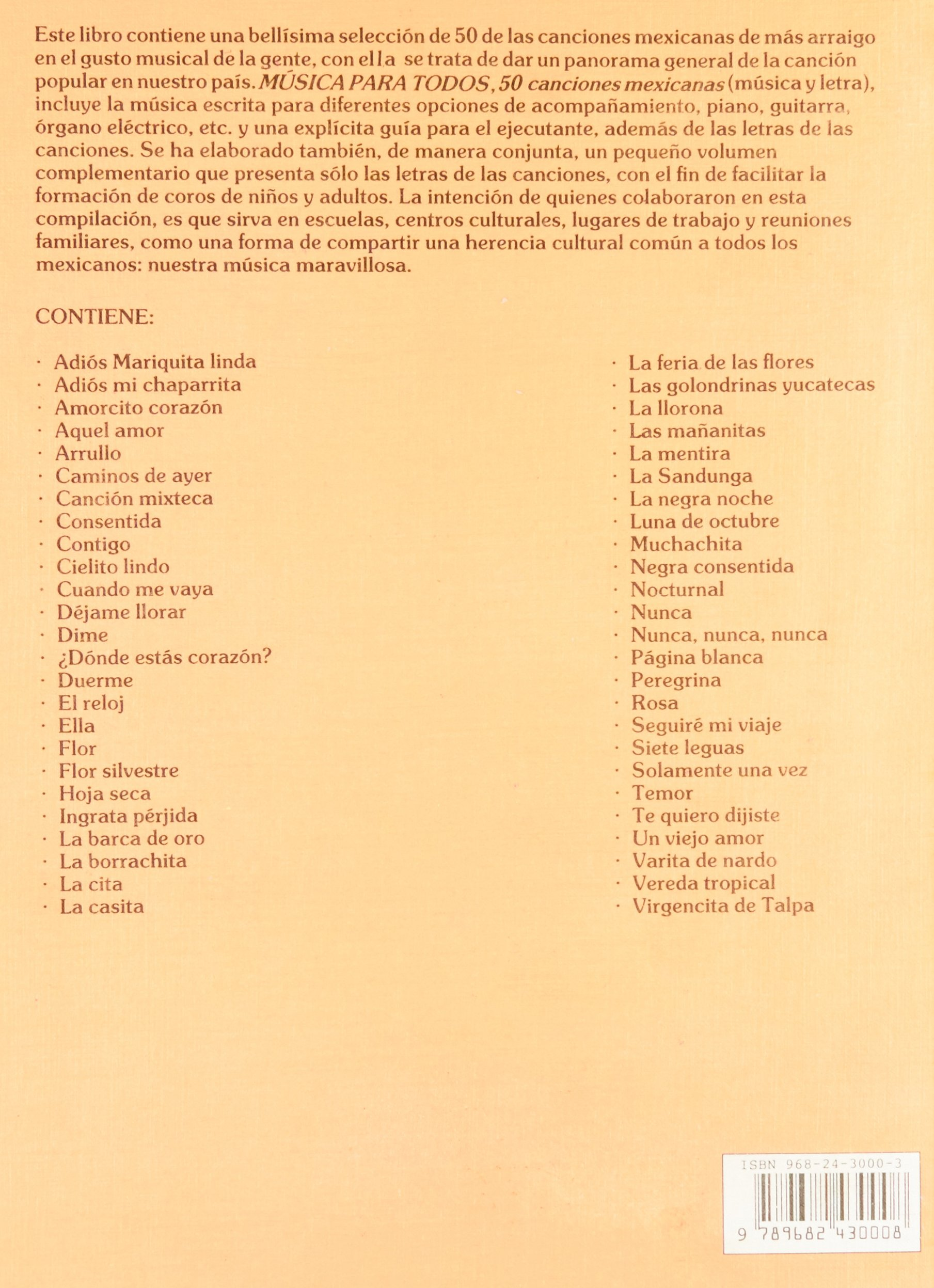 MÚSICA PARA TODOS, MÚSICA Y LETRA, PAUTADO: TRILLAS: 9789682430008: Amazon.com: Books