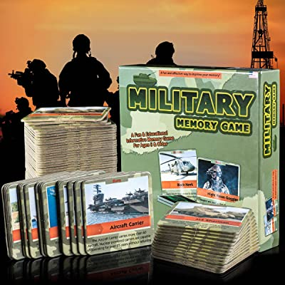 Matching Card Game - Fun and Educational Memory Game - Authentic Photos and Fascinating Facts About the U.S. Military - 50 Extra Thick Cards - Fun and Easy - Educational Memory Card Game: Toys & Games