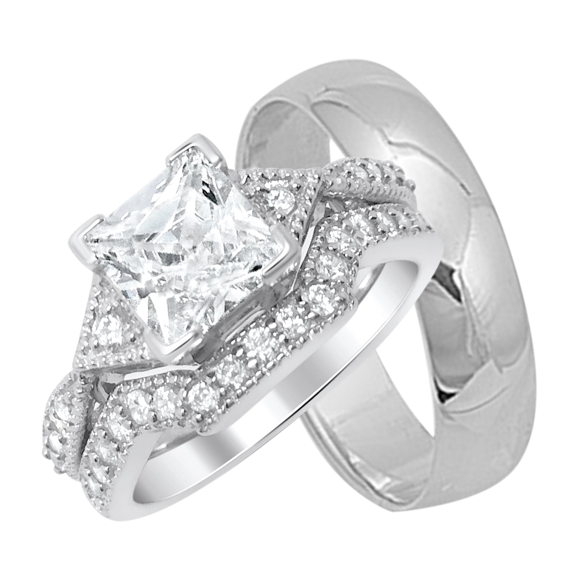 His and Hers Silver Wedding Rings Set Matching Bands For Him Her (6/14)