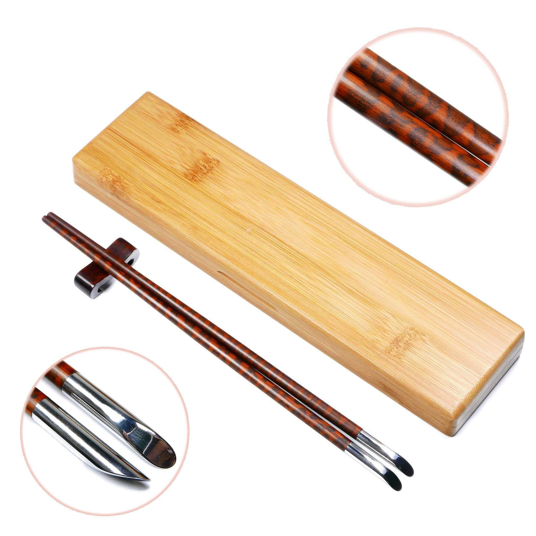 1 Pair Premium Natural Snakewood Chopsticks Set with Rest and Bamboo Case - Classic Round Handle with Stainless Steel Heads - Chinese Japanese Style - Custom Engraving for Personalized Gift