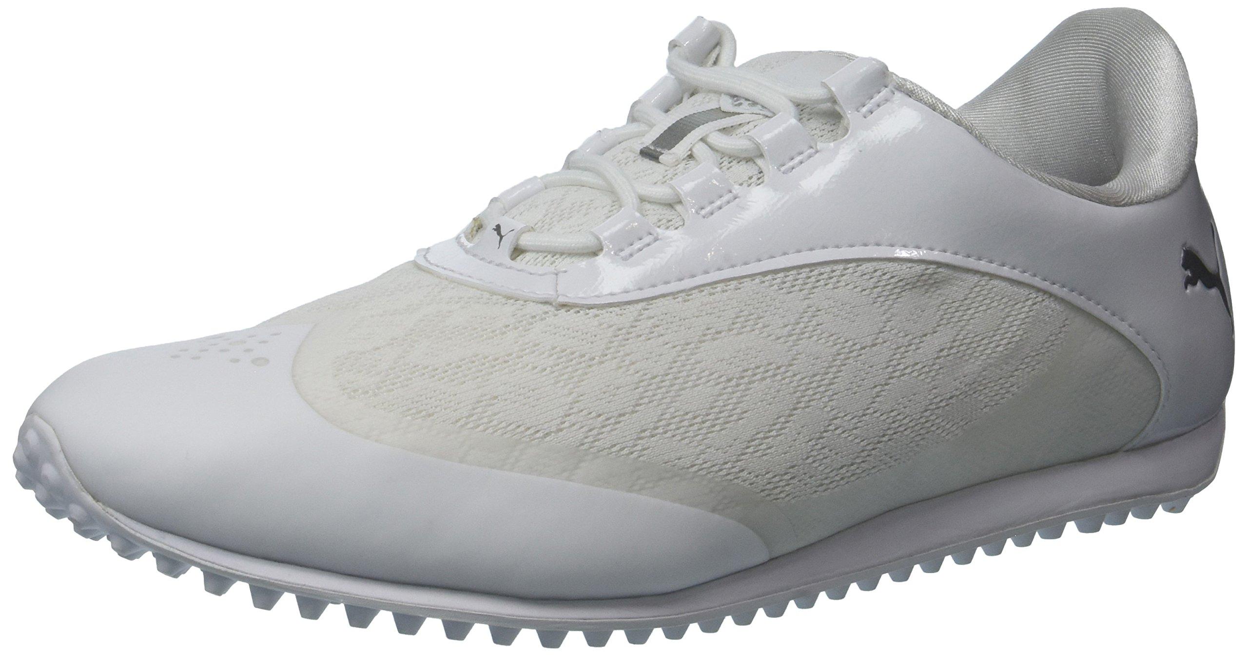 PUMA Golf Women's Summercat Sport Golf Shoe, White/Silver/High Rise, 7 Medium US