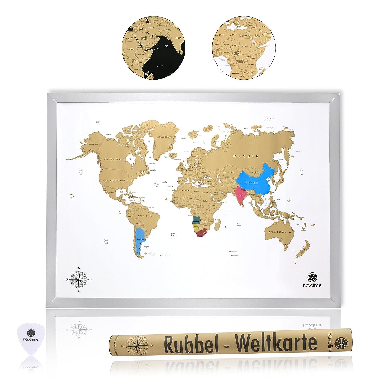 Amazon.de: havalime Premium XXL Rubbel Weltkarte, Scratch World Map ...