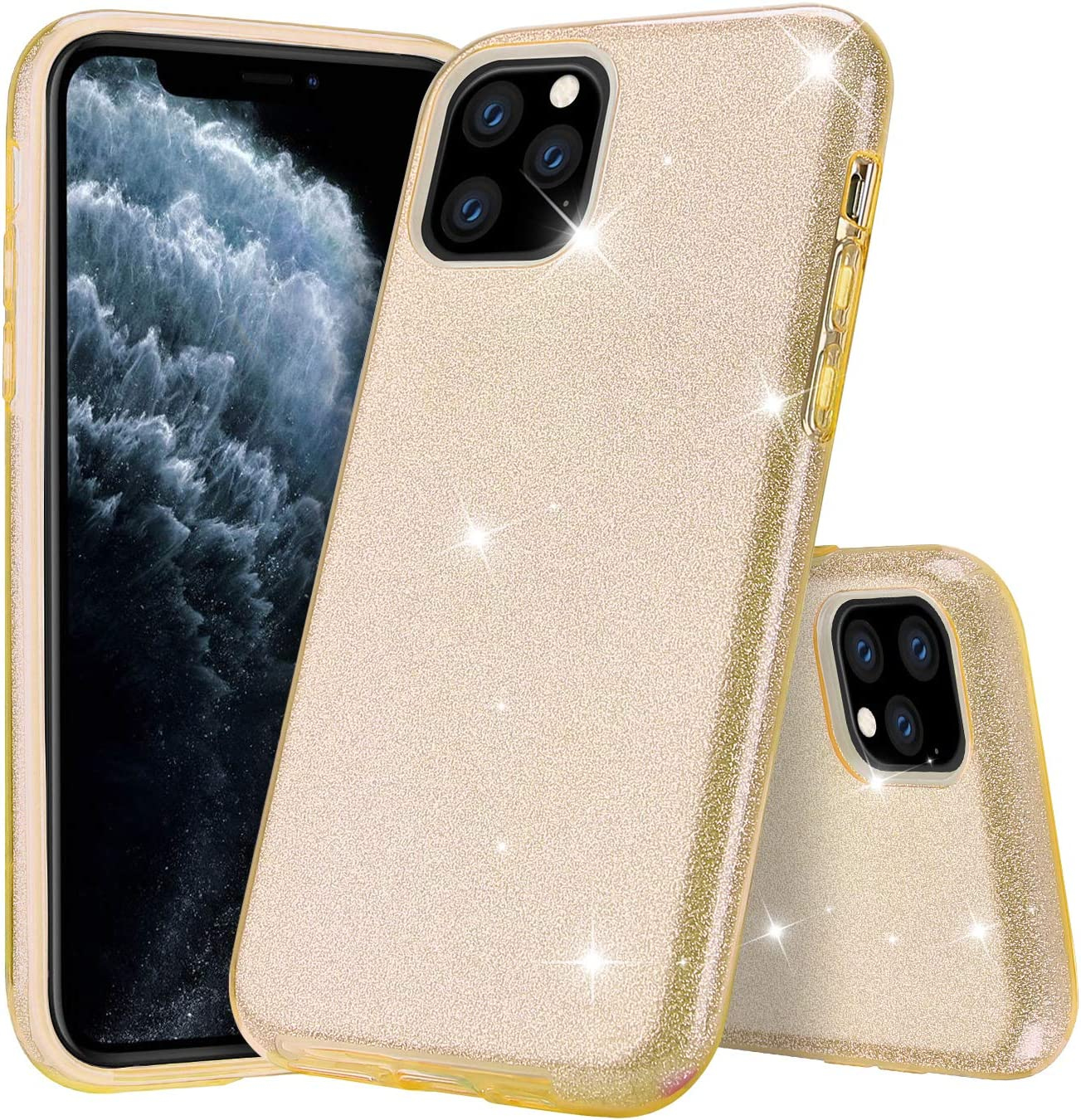 Polaland iPhone 11 Pro Max Case, Cute Sparkle Glitter Protective Cover with  Soft Bumper and Bling Luxury Shiny Hybrid Layer [Support Wireless