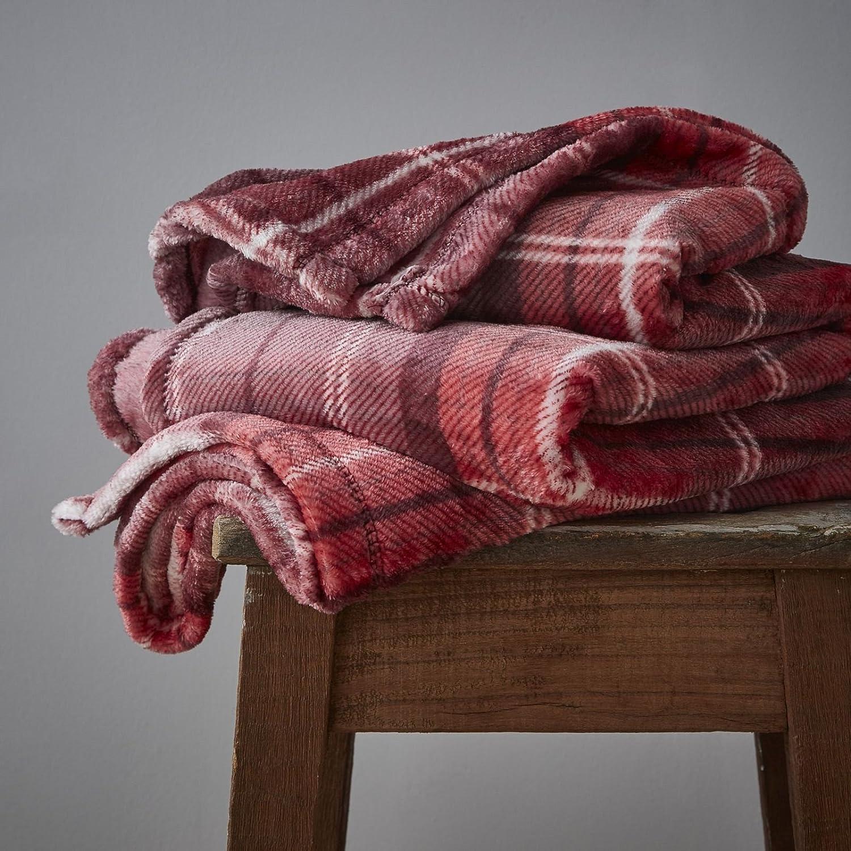 Catherine Lansfield brossé Tartan Couvre-lit à carreaux, Polyester, Red, 30 x 7 x 30 cm Turner Bianca DS/45137/W/THW/RE