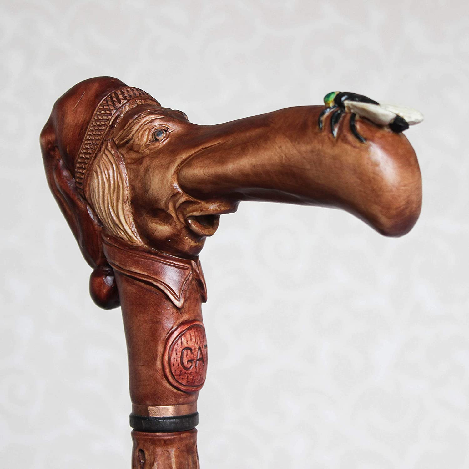 Custom walking cane Man in stocking cap with fly on the nose Hand carved walking stick Wooden cane