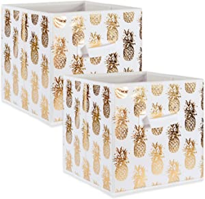 DII Foldable Fabric Storage Containers (11x11x11) Pineapple Set of 2, Small (2), White/Gold 2 Count