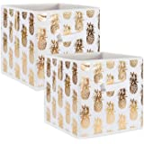 "DII Fabric Storage Bins for Nursery, Offices, & Home Organization, Containers Are Made To Fit Standard Cube Organizers (11x11x11"") Pineapple Gold - Set of 2"