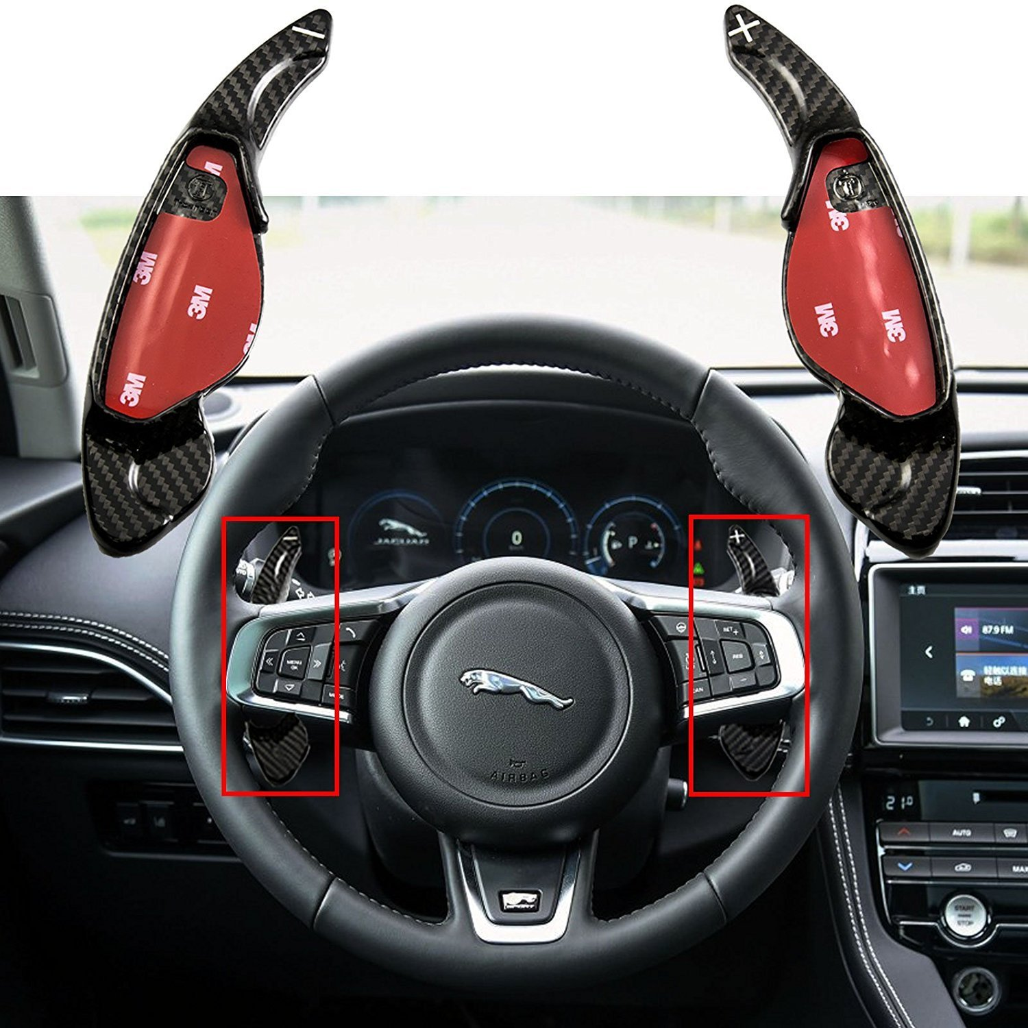 1 set Real Carbon Fiber Steering Wheel Shifter Gear Paddle DSG Extensions For Jaguar XFL XJ XE XFL F-TYPE F-PACE