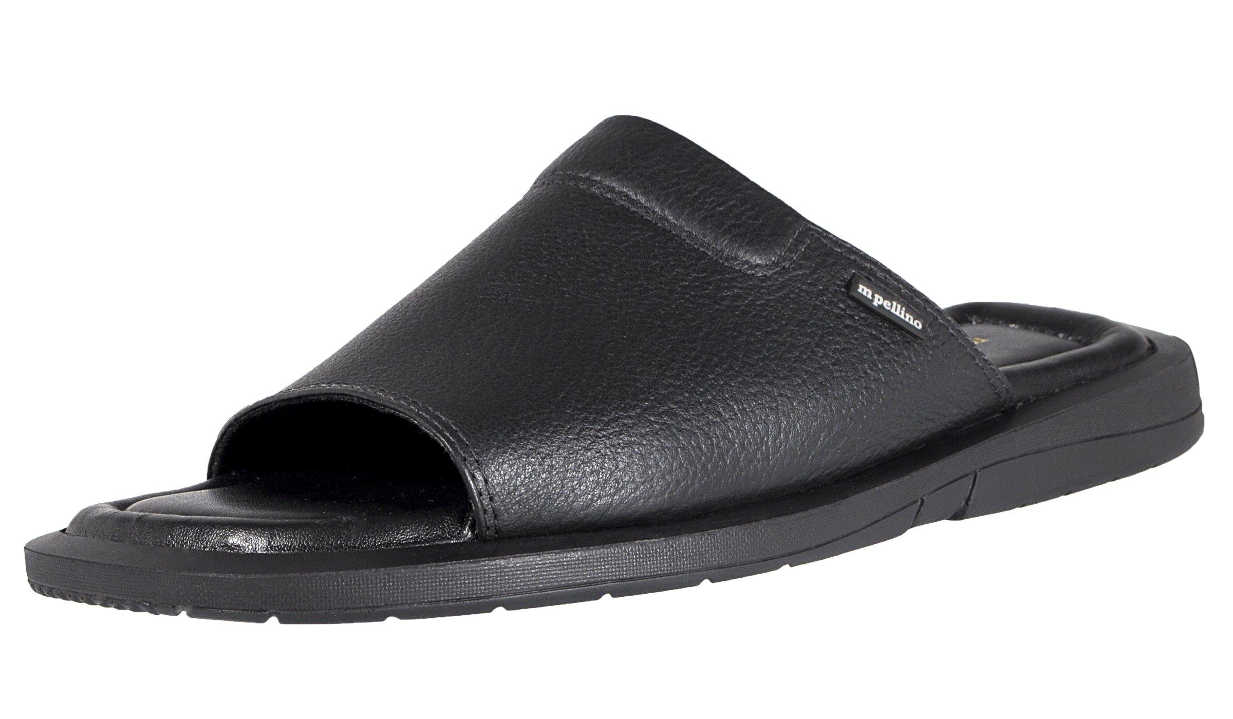 Mario Pellino Mens Casual Sandals Handmade Genuine Leather Sandals for Mens (43 M EU/11-11.5 B(M) US, Black Fl)