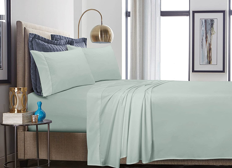40ad387c9e Amazon.com: TRIBECA LIVING 500 Thread Count Cotton Percale Extra Deep  Pocket Sheet Set, California King, Ivory: Home & Kitchen